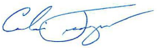 Signature of Calvin Teague, District Manager